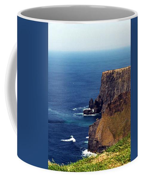Irish Coffee Mug featuring the photograph Waves Crashing At Cliffs Of Moher Ireland by Teresa Mucha