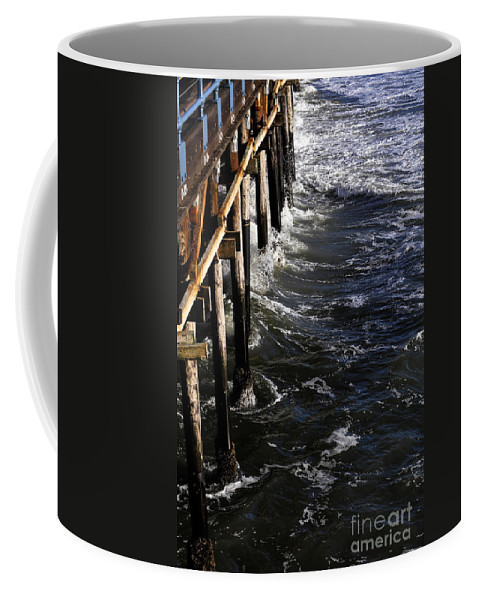 Clay Coffee Mug featuring the photograph Waves Hitting Santa Monica Pier by Clayton Bruster