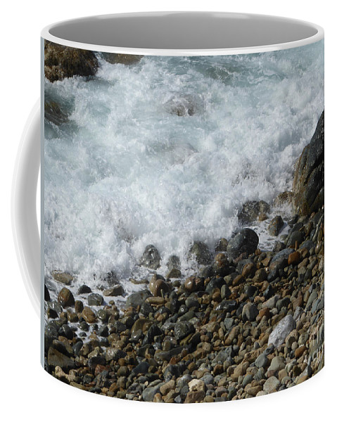 Caribbean Coffee Mug featuring the photograph Waves Meet Pebbles by Margaret Brooks