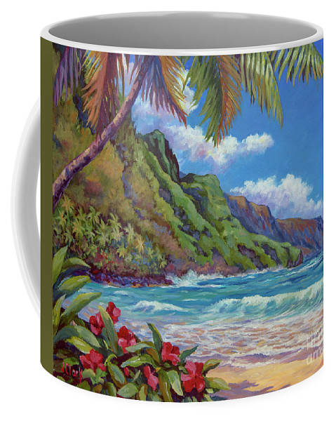 Kauai Coffee Mug featuring the painting Waves On Na Pali Shore by John Clark