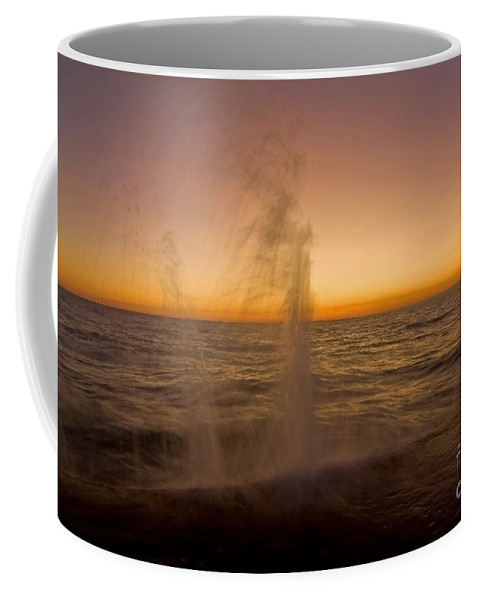 Waves Coffee Mug featuring the photograph Waves Splash At Dawn by Sven Brogren
