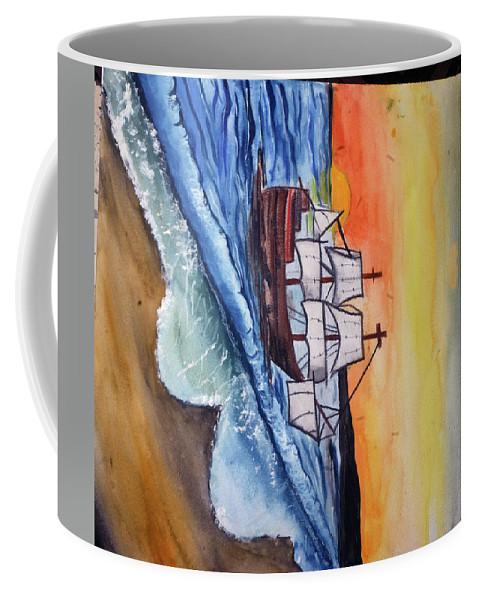 Landscape Coffee Mug featuring the painting Waves by Varshita Methwani