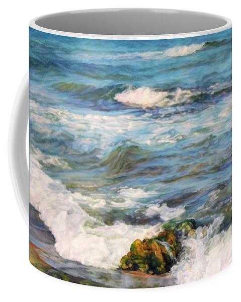 Waves Coffee Mug featuring the painting Sea Waves ... by Maya Bukhina
