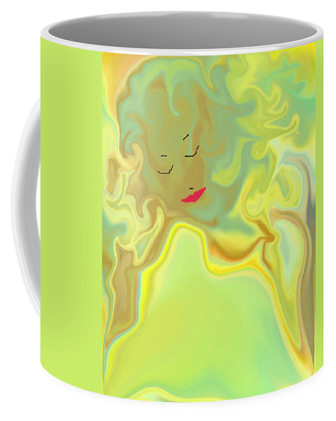 Coffee Mug featuring the digital art Wavy Hair And Red Lips by Ruth Palmer