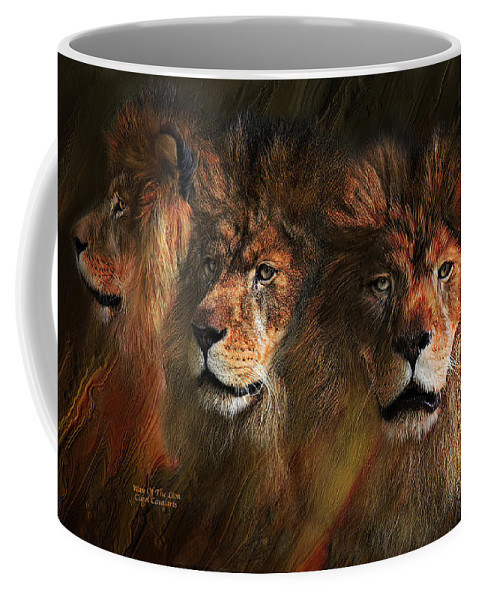 Lion Coffee Mug featuring the mixed media Way Of The Lion by Carol Cavalaris