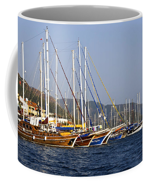 Boat Coffee Mug featuring the photograph We Are Sailing by Svetlana Sewell