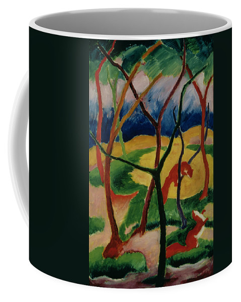 Weasels Coffee Mug featuring the painting Weasels Playing by Franz Marc