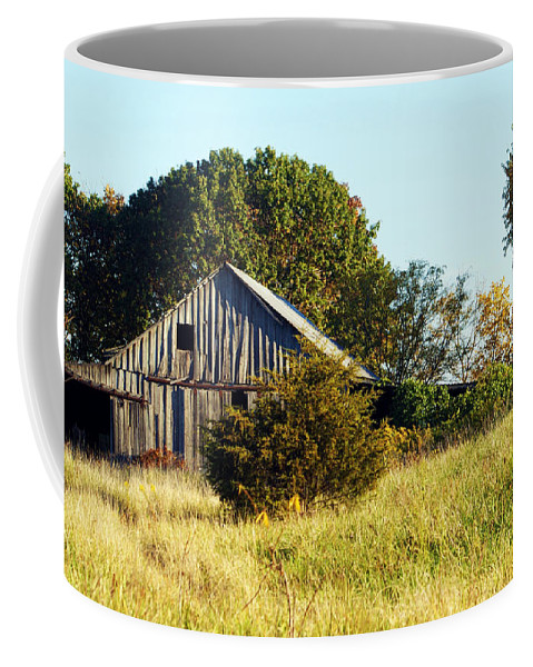 Barn Coffee Mug featuring the photograph Weathered Barn In Fall by Cricket Hackmann