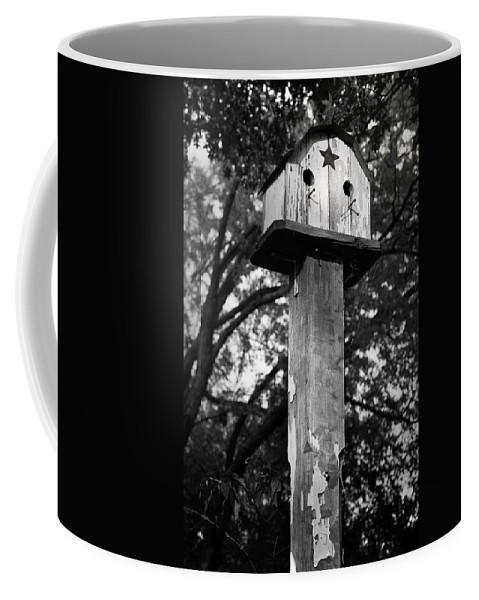 Birdhouse Coffee Mug featuring the photograph Weathered Bird House by Teresa Mucha