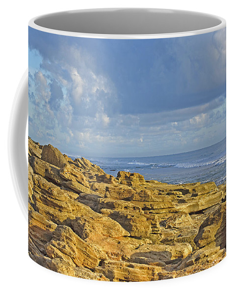 Rocks Coffee Mug featuring the photograph Weathered Coquina Ocean Rocks by Kenneth Albin