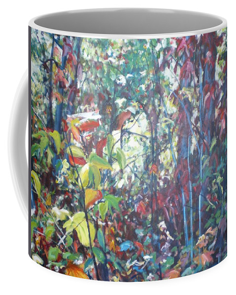 Landscape Coffee Mug featuring the painting Web Of Color by Sheila Holland