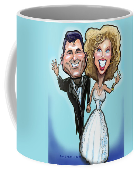 Anniversary Coffee Mug featuring the painting Wedding Cake Dolls by Kevin Middleton