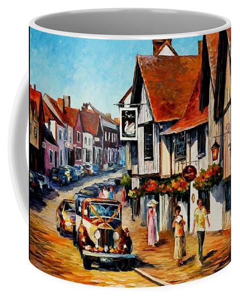 Afremov Coffee Mug featuring the painting Wedding Day In Lavenham - Suffolk England by Leonid Afremov