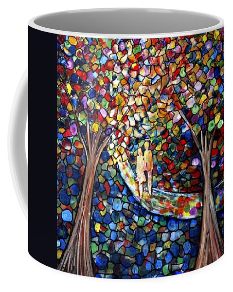 Romance Coffee Mug featuring the painting Wedding In The Park by Luiza Vizoli