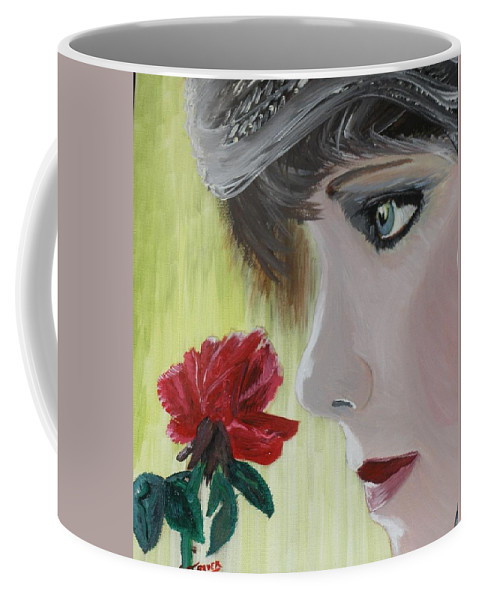 Romance Coffee Mug featuring the painting Wedding Rose by J Bauer
