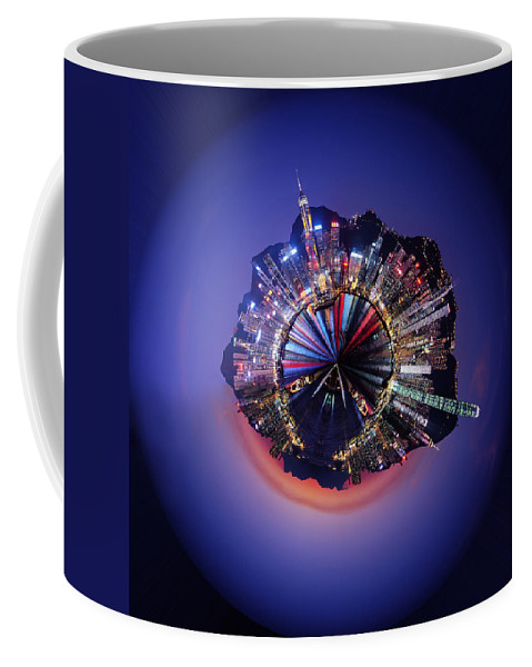Wee Planet Coffee Mug featuring the digital art Wee Hong Kong Planet by Nikki Marie Smith