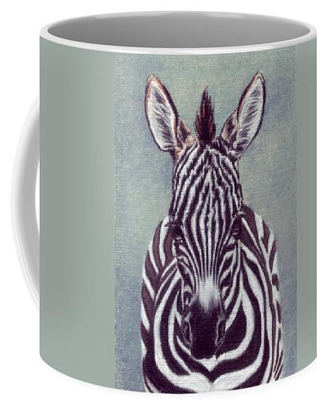Zebra Coffee Mug featuring the drawing Wee Zeeb by Kristen Wesch