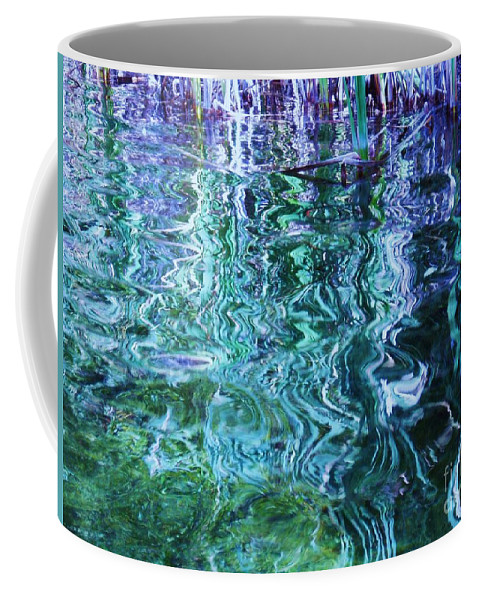 Photograph Blue Green Weed Shadow Lake Water Coffee Mug featuring the photograph Weed Shadows by Seon-Jeong Kim