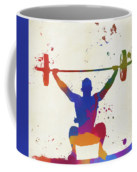 Weightlifter Paint Splatter Coffee Mug featuring the painting Weightlifter Paint Splatter by Dan Sproul