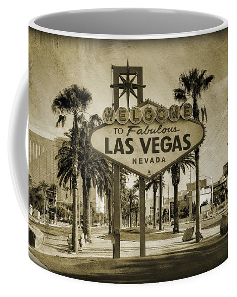 Las Coffee Mug featuring the photograph Welcome To Las Vegas Series Sepia Grunge by Ricky Barnard