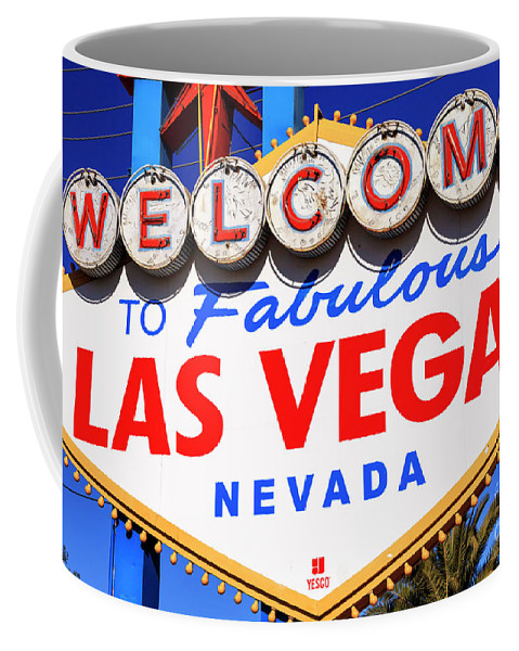 Welcome To Las Vegas Coffee Mug featuring the photograph Welcome To Las Vegas Sign by John Rizzuto