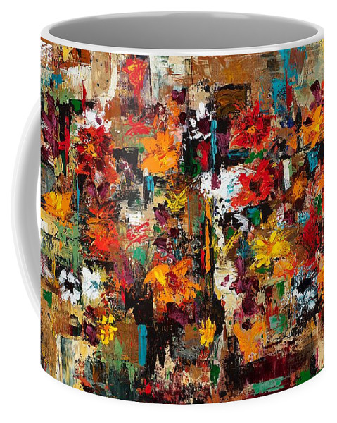 Abstract Flowers Coffee Mug featuring the painting Welcome To My Flower Garden by Frances Marino