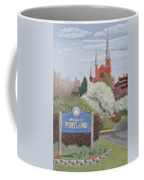 Church Coffee Mug featuring the painting Welcome To Portland by Dominic White