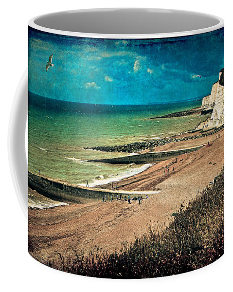 Beach Coffee Mug featuring the photograph Welcome To Saltdean An Imaginary Postcard by Chris Lord