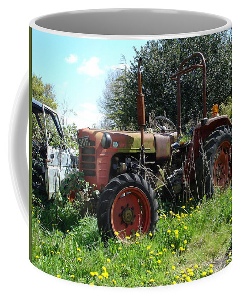 Tractor Coffee Mug featuring the photograph Well And Truely Retired by Susan Baker