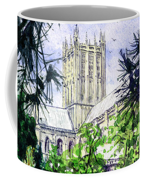 Wells Coffee Mug featuring the painting Wells Cathedral by John D Benson
