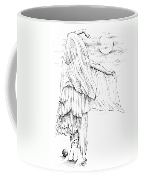 Stevie Nicks Coffee Mug featuring the drawing Welsh Witch by Johanna Pieterman