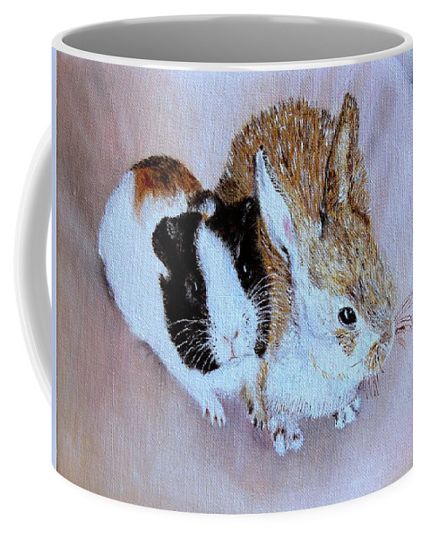 Pets Coffee Mug featuring the painting Wendy And Bobby by Helmut Rottler
