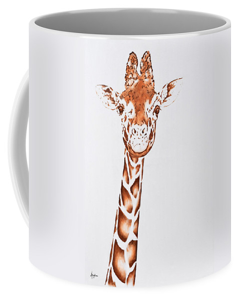 Wildlife Coffee Mug featuring the painting West African Giraffe by Andrea Angulo