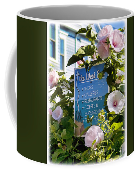 Provincetown Coffee Mug featuring the photograph West End Hollyhocks by Tammy Wetzel