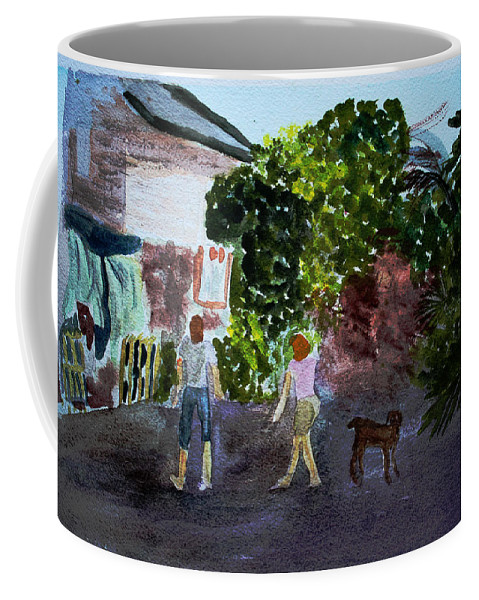 Landscapes Coffee Mug featuring the painting West End Shopping by Donna Walsh