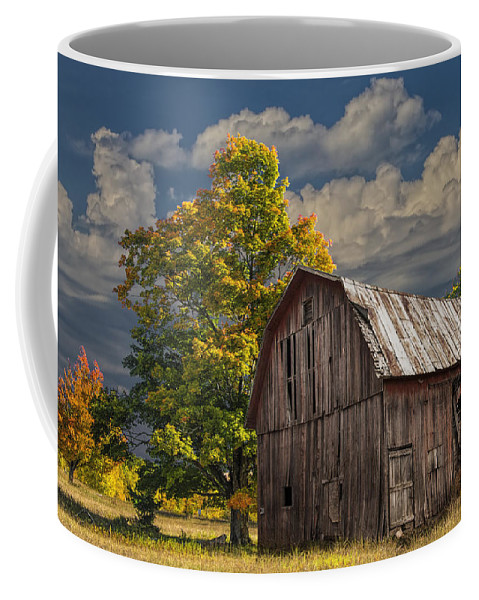 Landscape Coffee Mug featuring the photograph West Michigan Barn In Autumn by Randall Nyhof