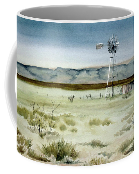 Windmill Coffee Mug featuring the painting West Texas Windmill by Karen Boudreaux