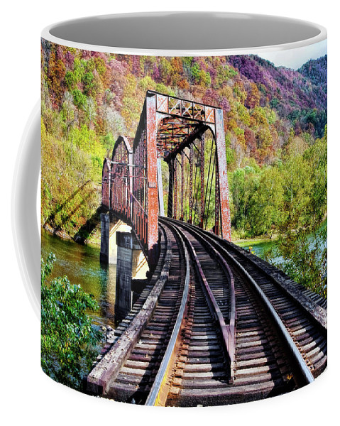 Railroad Coffee Mug featuring the photograph West Virginia Trestle by Marcia Colelli