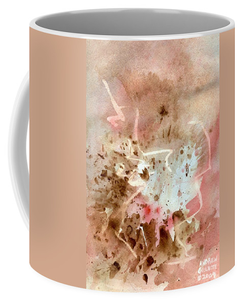 Western West Southwest Cavern Rocky Mountain Rugged Earth Cave Abstract Watercolor Brown Red Coffee Mug featuring the painting Western by Andrew Gillette