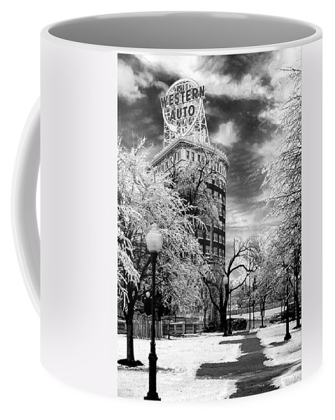 Western Auto Kansas City Coffee Mug featuring the photograph Western Auto In Winter by Steve Karol