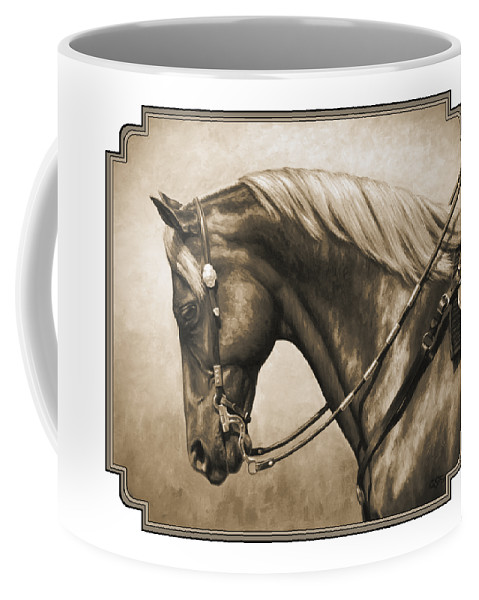 Horse Coffee Mug featuring the painting Western Horse Painting In Sepia by Crista Forest