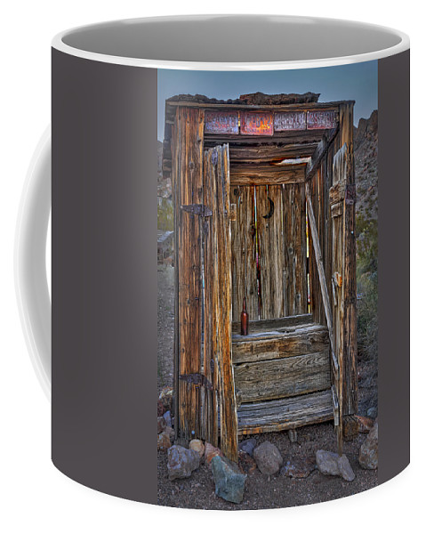 Outhouse Coffee Mug featuring the photograph Western Outhouse by Susan Candelario