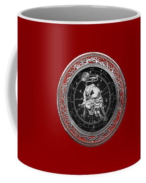 'zodiac' Collection By Serge Averbukh Coffee Mug featuring the digital art Western Zodiac - Silver Taurus - The Bull On Red Velvet by Serge Averbukh