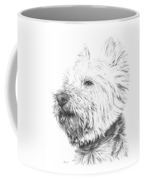 Westy Coffee Mug featuring the drawing Westy by Remrov