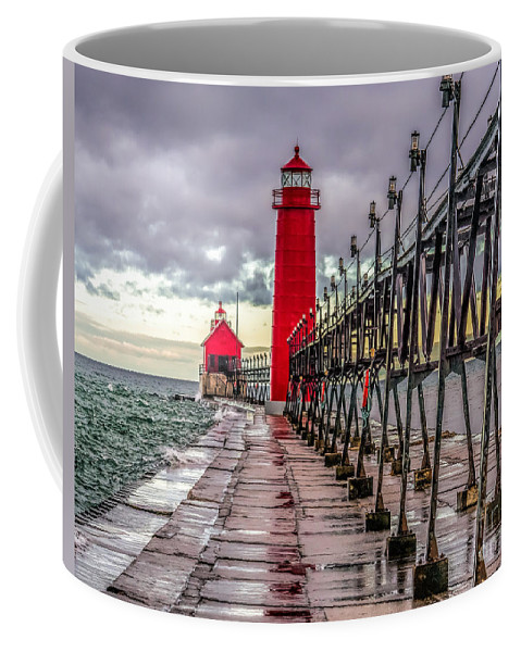 Great Lakes Coffee Mug featuring the photograph Wet At Grand Haven by Nick Zelinsky