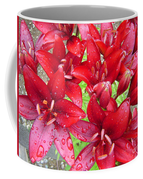 Lilies Coffee Mug featuring the photograph Wet Lilies by Rick Monyahan