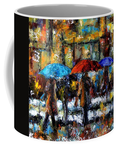 Rainy City Art Coffee Mug featuring the painting Wet Winter Day by Debra Hurd