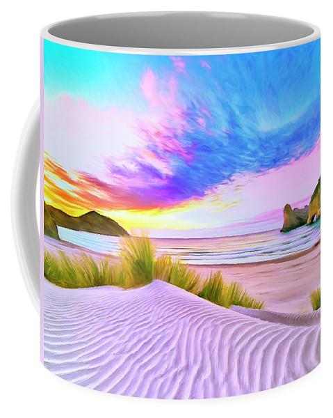 Wharariki Beach Coffee Mug featuring the painting Wharariki Beach by Dominic Piperata