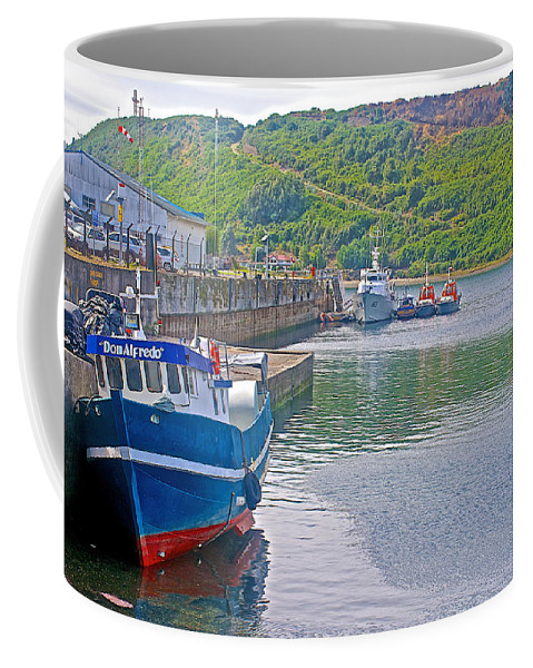 Wharf Near In Angelo Fish Market In Puerto Montt Coffee Mug featuring the photograph Wharf Near Angelmo Fish Market In Puerto Montt-chile by Ruth Hager