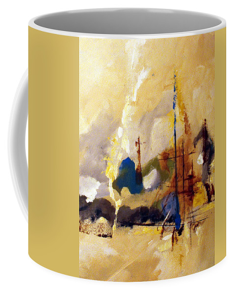Abstract Coffee Mug featuring the painting Wharf by Ruth Palmer